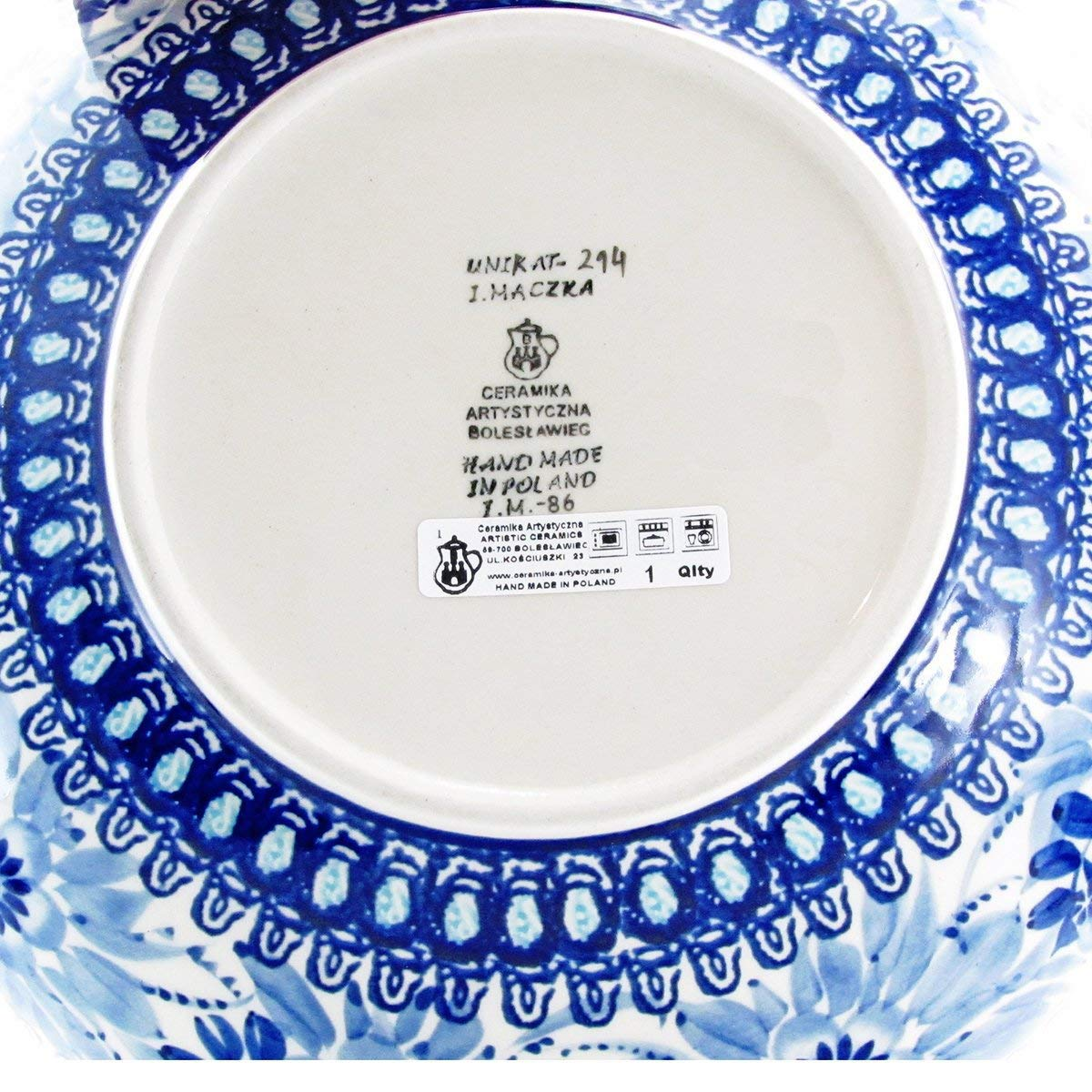 Polish Pottery Handmade Vintage Unikat 10.5'' 2 QT SERVING BOWL - U214 by Great2bHome Polish Pottery and Unique Gifts (Image #4)