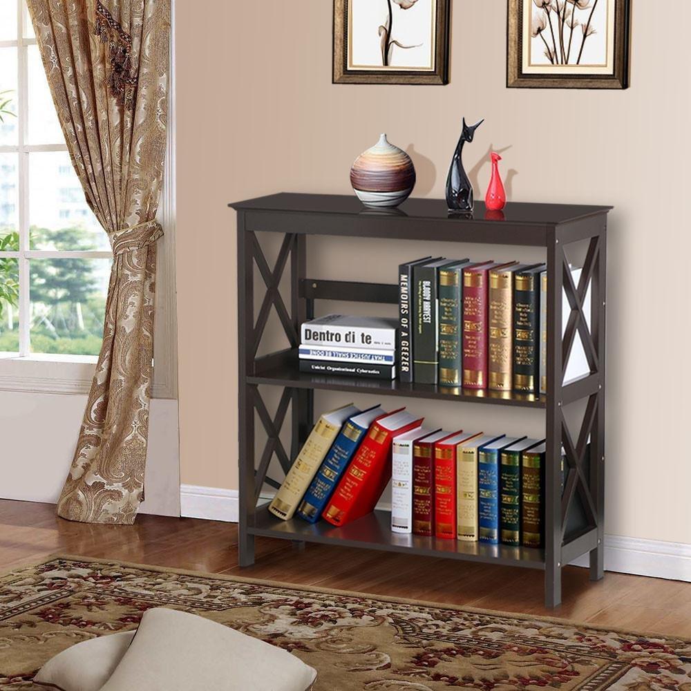 Yaheetech 3 Tier Espresso Finish Wood Bookcase Bookshelf Display Rack Stand Storage Shelving Unit