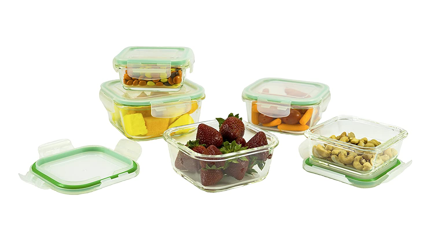 Amazoncom 10 Piece Square Glass Food Storage Container Set With