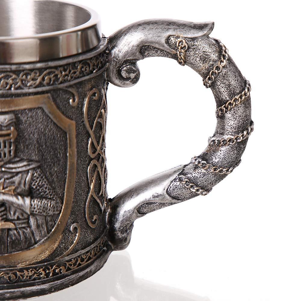 SODIAL Medieval Templar Crusader Knight Mug Suit of Armor Knight of The Cross Beer Stein Tankard Coffee Cup-Mug