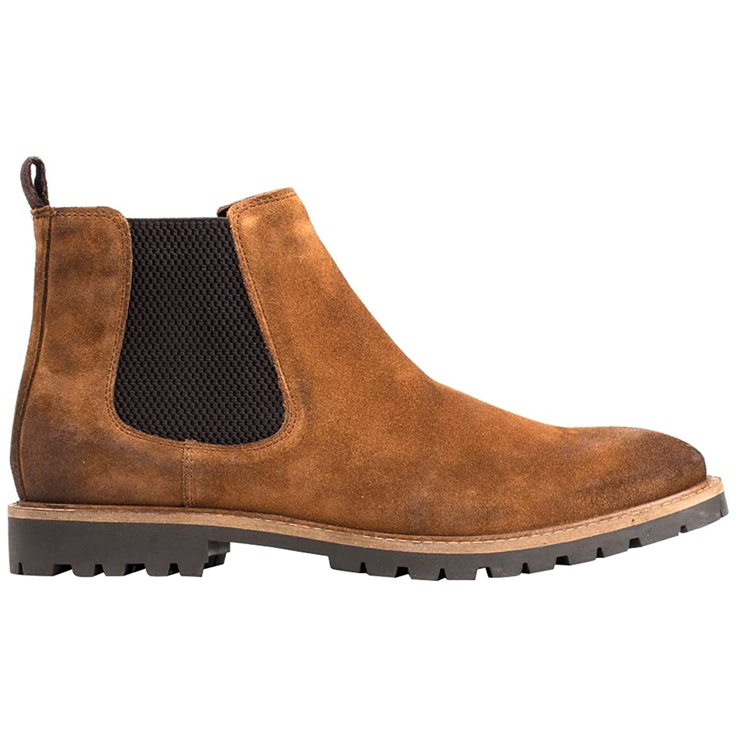 Base London Mens Turret Boots Smart Suede Burnished Leather Chelsea Boots Turret Cognac 23728d