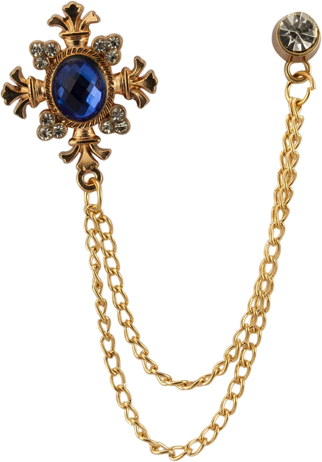 Knighthood Royal Blue Shimmer Stone with Rose Gold Engraving Hanging Chain and Swarovki Detailing Brooch Lapel Pin