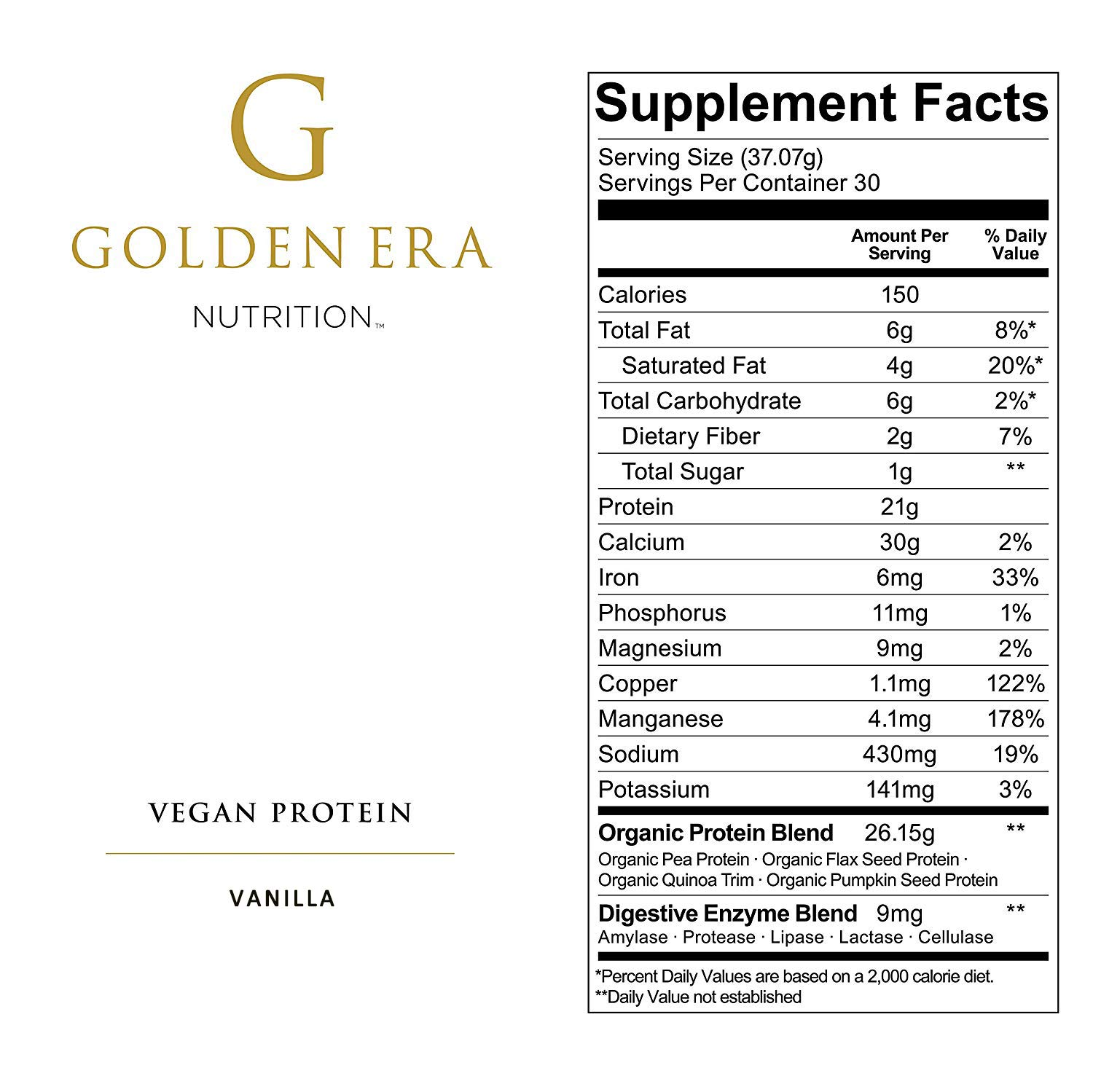 Golden Era Nutrition Organic Plant Based Vegan Protein Powder, Vanilla Flavor, Vegan, Low Net Carbs, Non Dairy, Gluten Free, Lactose Free, No Sugar Added, Soy Free, Kosher, Non-GMO, 2.45 Pounds