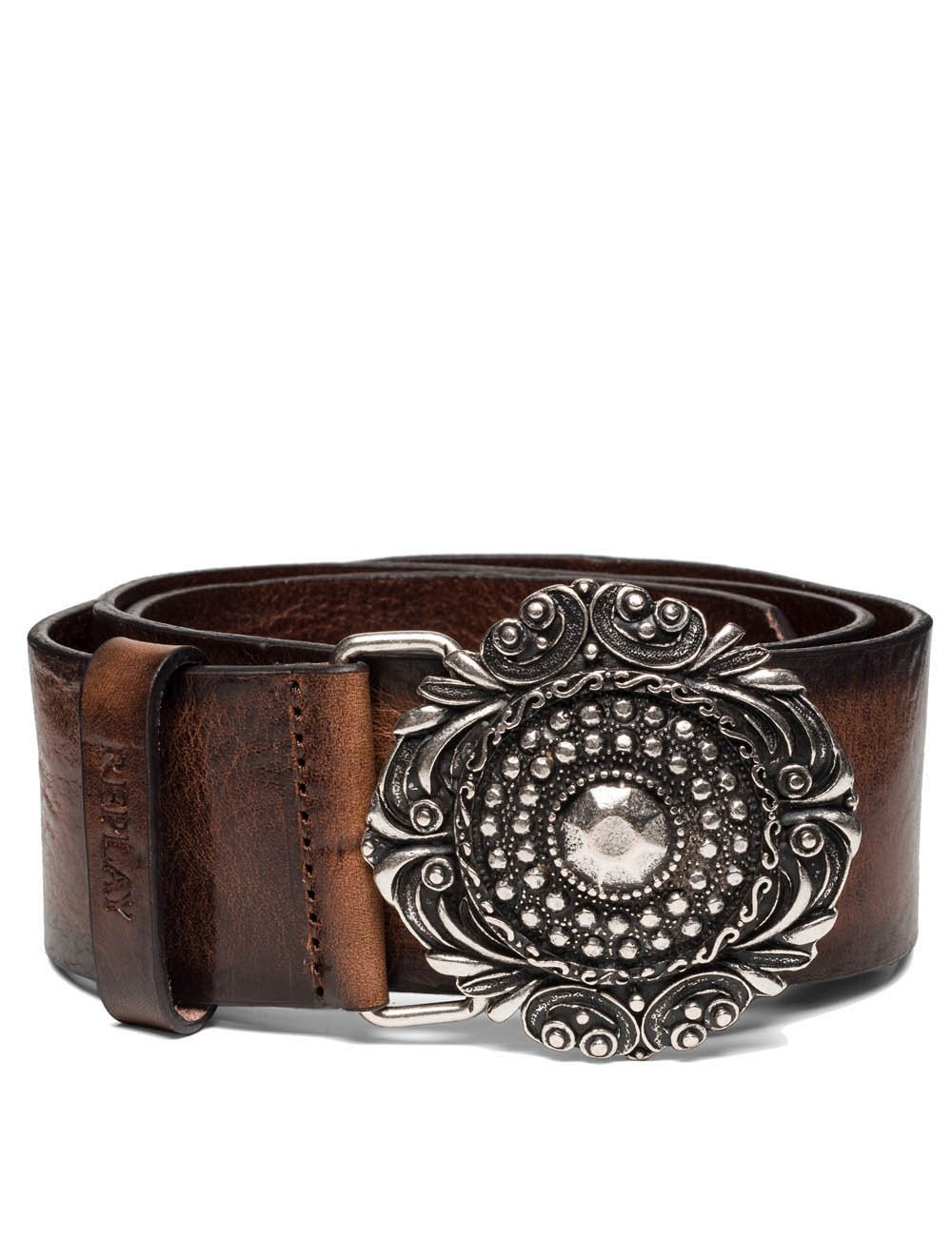 Replay Women's Women's Leather Brown Belt With Vintage Buckle in Size 85 Brown