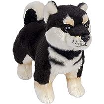 """Soft Dog Stuffed Plushie Blue Bib BLACK PUP New 8 Inch Shiba Inu 8/"""" Plush"""