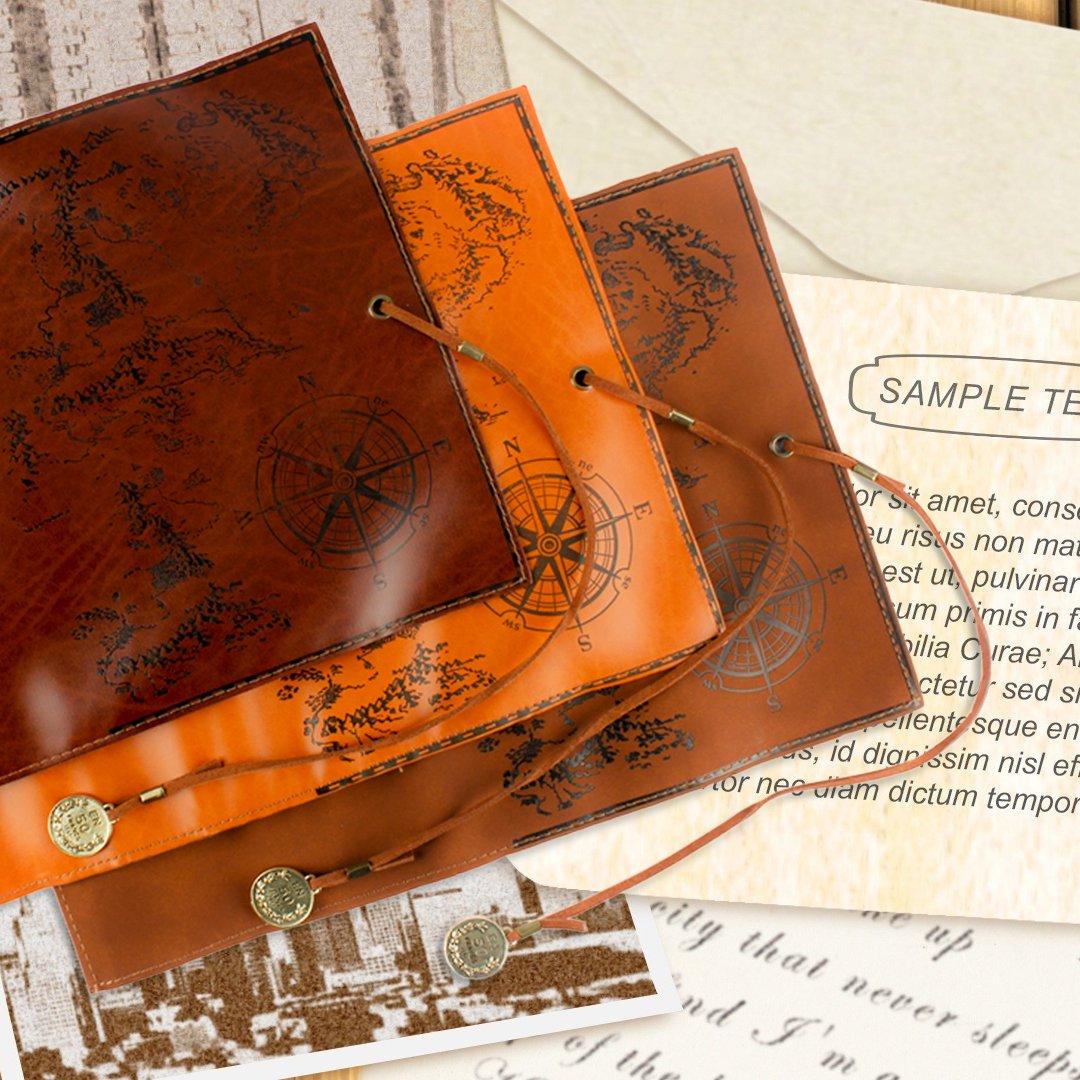 wskderliner Bleistift Fall Halter Zeichnen Stationery Tasche Vintage Leder für Schriftsteller Künstler und Studenten und 3Stück