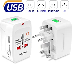 MAXAH Universal Travel Plug Adapter, All in One Worldwide Universal Wall Charger AC Power Converters Plug with 1 USB Charging Port (1A) for EU US UK AU - White