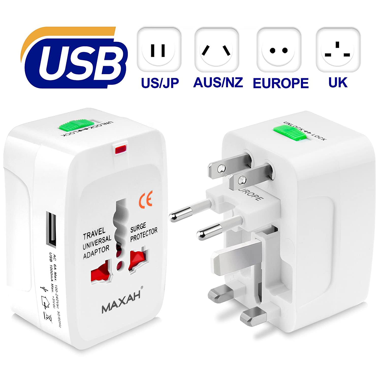 Adaptateur universel prise usb pour un meilleur voyage MAXAH Adaptateur universel de voyage avec 2 ports USB Tout en un adaptateur international adaptateur prise double usb All in One Universal World Wide Travel Adapter pour plus de 150 pays ou région comm