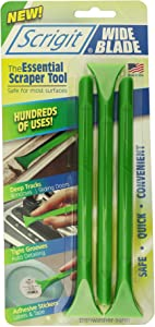 Scrigit Scraper the Non-Scratch Plastic Scraper Tool, Wide Blade - Pen-Shaped Cleaning Tool for Tight Spaces, Crevices, Most Surfaces - Quickly and Safely Remove Food, Labels, Paint, and More - 3pk