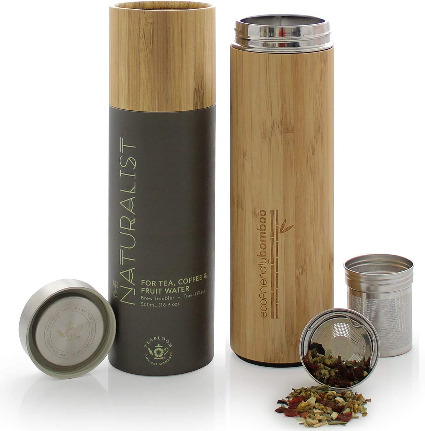 Teabloom All-Beverage Travel Tumbler – Large Capacity 17 oz / 500 ml – Insulated Thermos Mug – Eco-Friendly Bamboo – Hot and Cold Tea Infuser – Cold-Brew Coffee – Fruit-Infused Water – The Naturalist