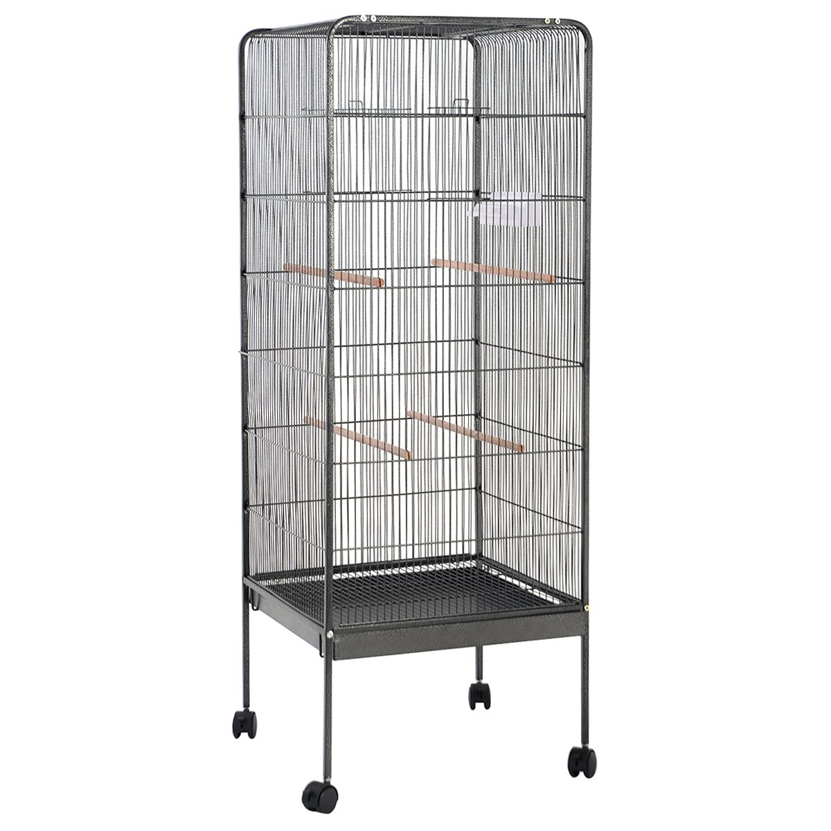 PETSJOY 58'' Large Bird Cage Parrot Cage for African Grey Senegal Parrots Sun Parakeets Green Cheeked Lovebirds Budgies Top Play Pet Bird Cage with Perch and Stand, 2 Doors 2 Feeders, Iron, Dark Gray by PETSJOY