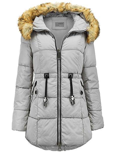 Abrigo largo de invierno de plumón con capucha de pelo largo, efecto parka: Amazon.es: Ropa y accesorios