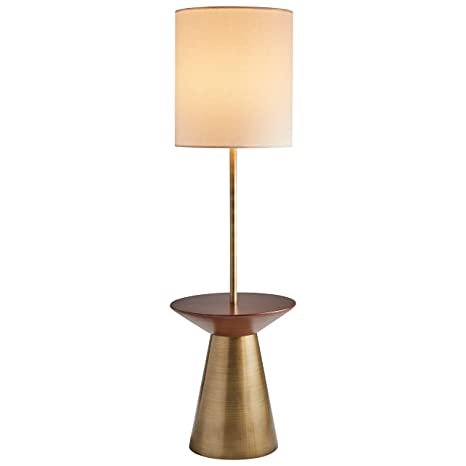 Rivet Modern Floor Lamp With Shelf 60 H With Bulb Brass With