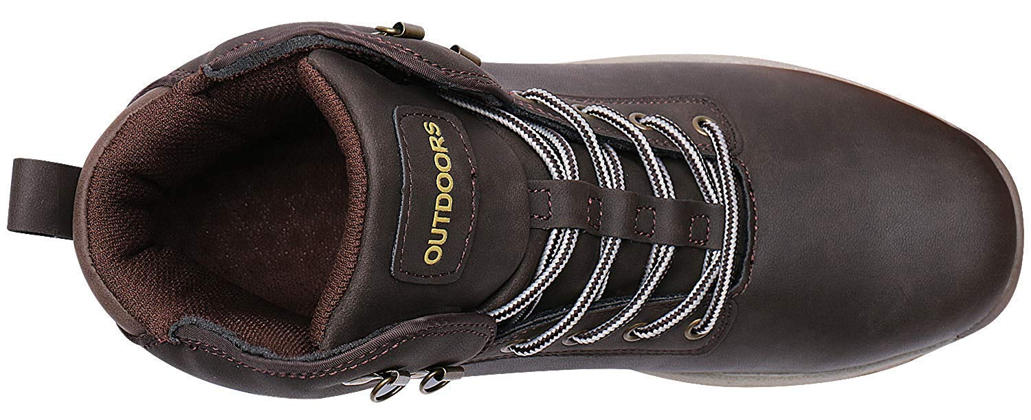 Smapavic Mens Hiking Boots Leather Work Shoes Winter Outdoor Waterproof Snow Shoes