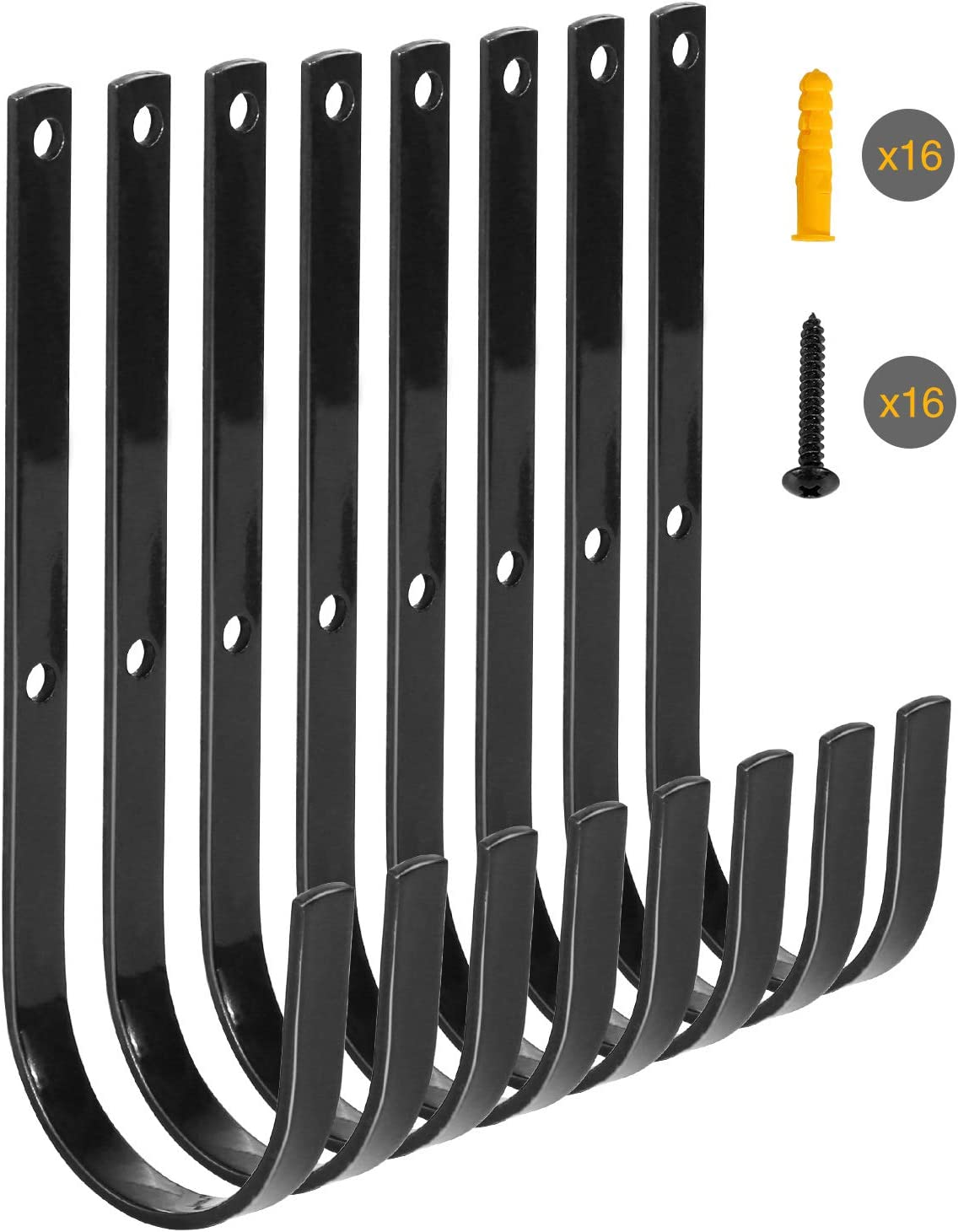 Redcamp Black Iron Heavy Duty Storage Utility Hooks,Set of 8,Large Garage Hooks Wall Mount for Hanging Storage Garden Tools