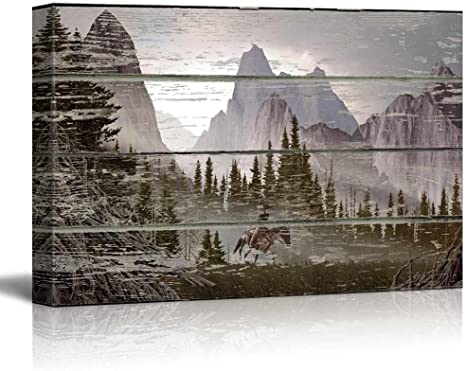 Amazon Com Wall26 Mountain Scene On A Wooden Background Canvas Art Wall Art 24 X36 Posters Prints