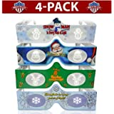 3D Christmas Glasses - 4 Pack Variety - Turn Holiday Lights Into Magical Images For A Christmas Experience. Our USA MADE Holographic Glasses Are Excellent For Entertaining Family, Friends & Colleagues