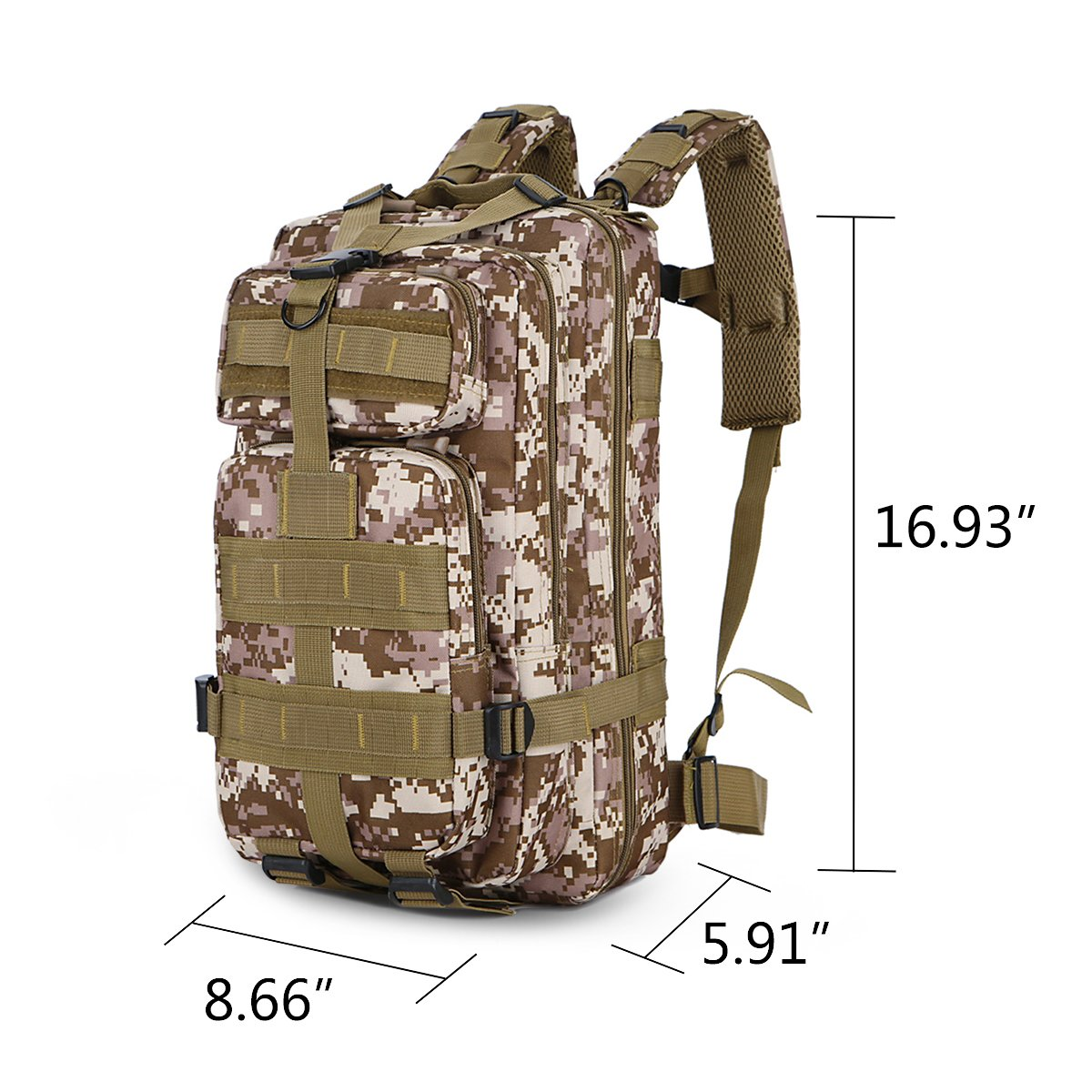 30L Military Tactical Backpack Waterproof Outdoor Bag for Hiking Camping Climbing Trekking Travel Daypack Size 8.6\'\'x 5.9\'\'x 16.9\'\' (Camouflage2)
