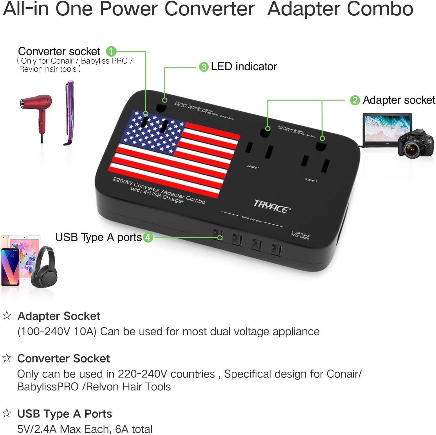 Amazon.com: TRYACE 2200W Convertidor de voltaje, todo en uno ...