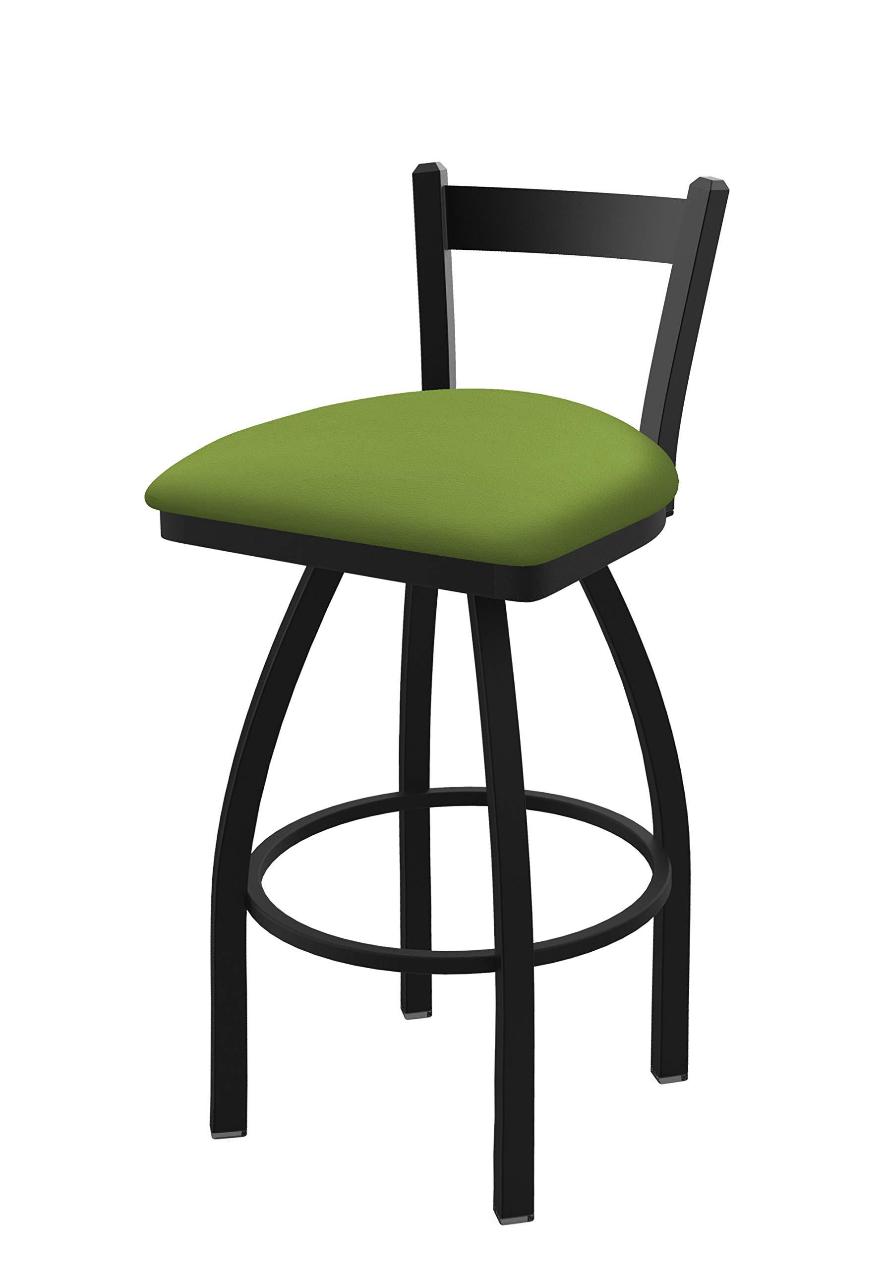 Holland Bar Stool Co. 82125BW009 821 Catalina 25'' Low Back Swivel Counter Black Wrinkle Finish and Canter Kiwi Green Seat Bar Stool,