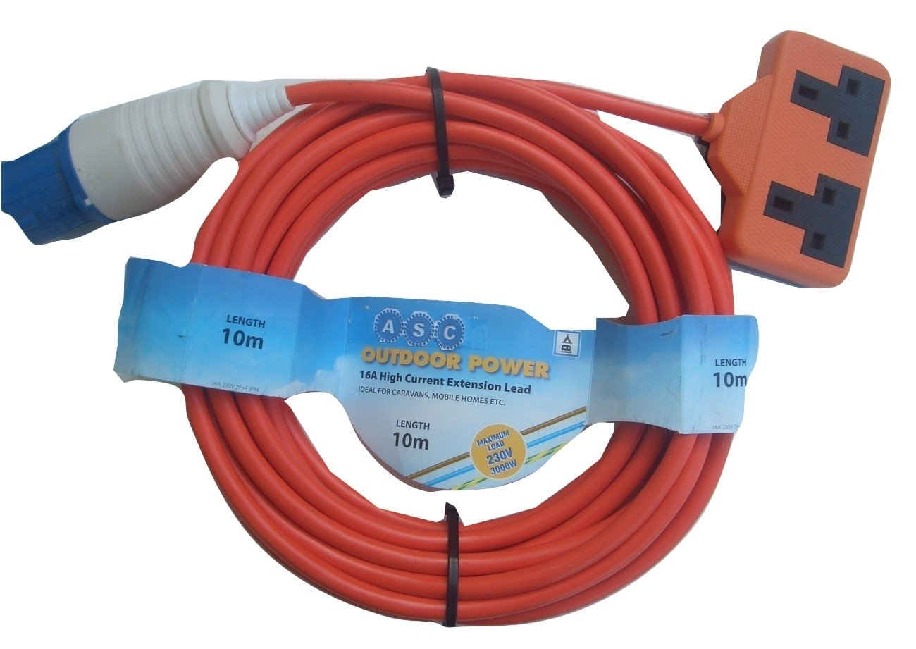 15m Caravan Camping Motorhome Hook Up Cable 16A Site Extension Lead Electric 1.5mm Arctic Blue