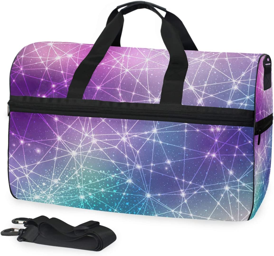 ALAZA Magic Space Cosmic Constellation with Stars Sports Gym Duffel Bag Travel Luggage Handbag Shoulder Bag with Shoes Compartment for Men Women