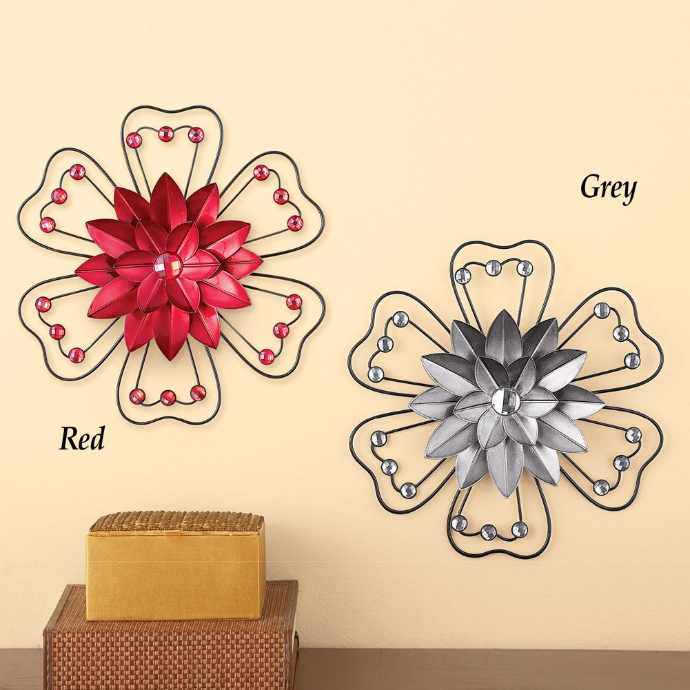 Amazon.com: Collections Etc Crystal Accented 3D Metal Flower Wall ...