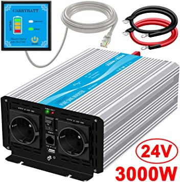 Power Inverter Pure Sine Wave 3000 Watt 12V DC to 240V AC Converter-2AC EU Outlets Car Inverter with One USB Port-5 Meter Remote Control And Two Cooling Fans-Peak Power 6000 Watt