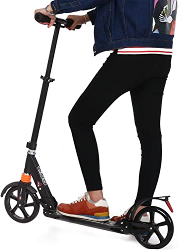 eshion Adult Kick Scooter for Teenagers with Rear Brake Tail Light Height Adjustable 1 Seconds Folding Lightweight 220 lbs Weight Capacity US Stock