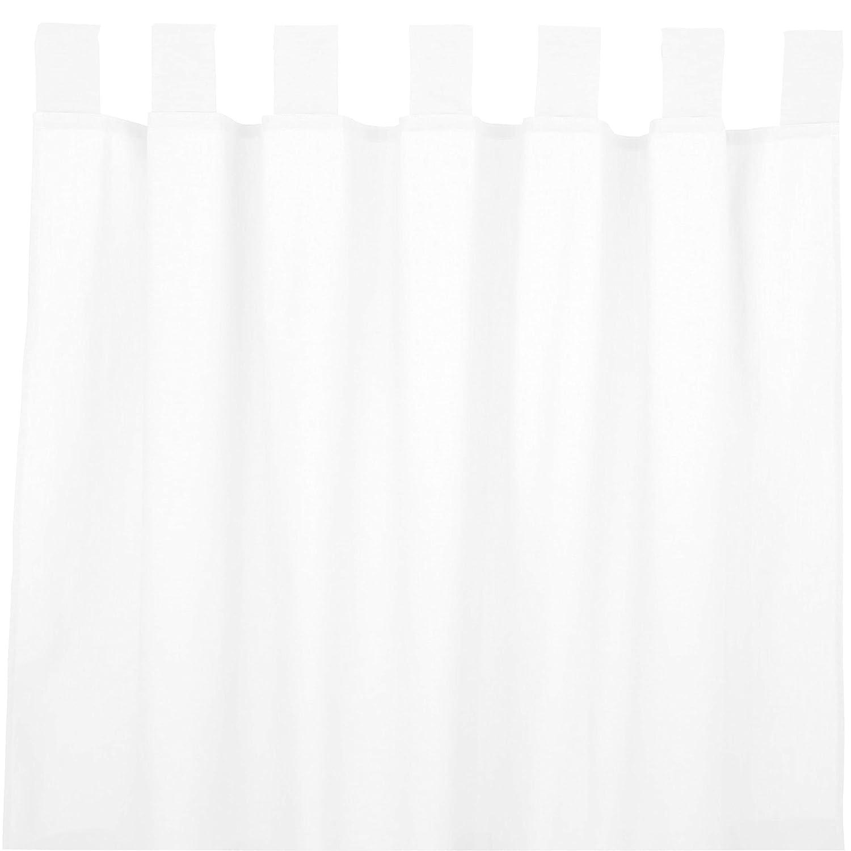Sugarapple Dekoschal, Gardine, Vorhang mit Schlaufen aus 100% Baumwolle. 2 Schals, Breite je 143 cm, Länge 230 cm, Uni Weiß