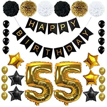 Happy 55th Birthday Banner Ballons Set For 55 Years Old Party Decoration Supplies Gold Black