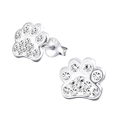 Dog Paw Print Earrings - Sterling Silver with Crystal Stones xrcxx