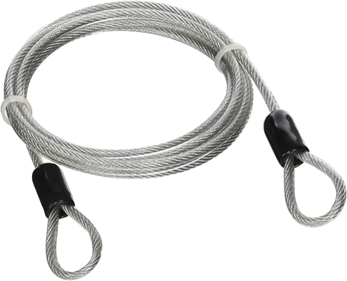 2 Safety Lightweight Cable Luggage Lock Wire Rope w//Braided Steel Coated Loop 2m