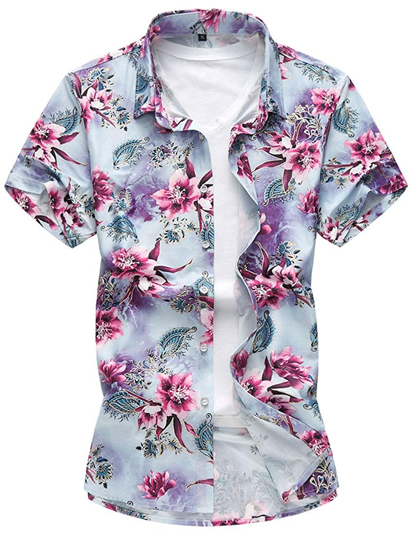 XiTiaXn XTX Mens Plus Size Casual Flower Shirt Short Sleeve Hawaii Cotton Shirt