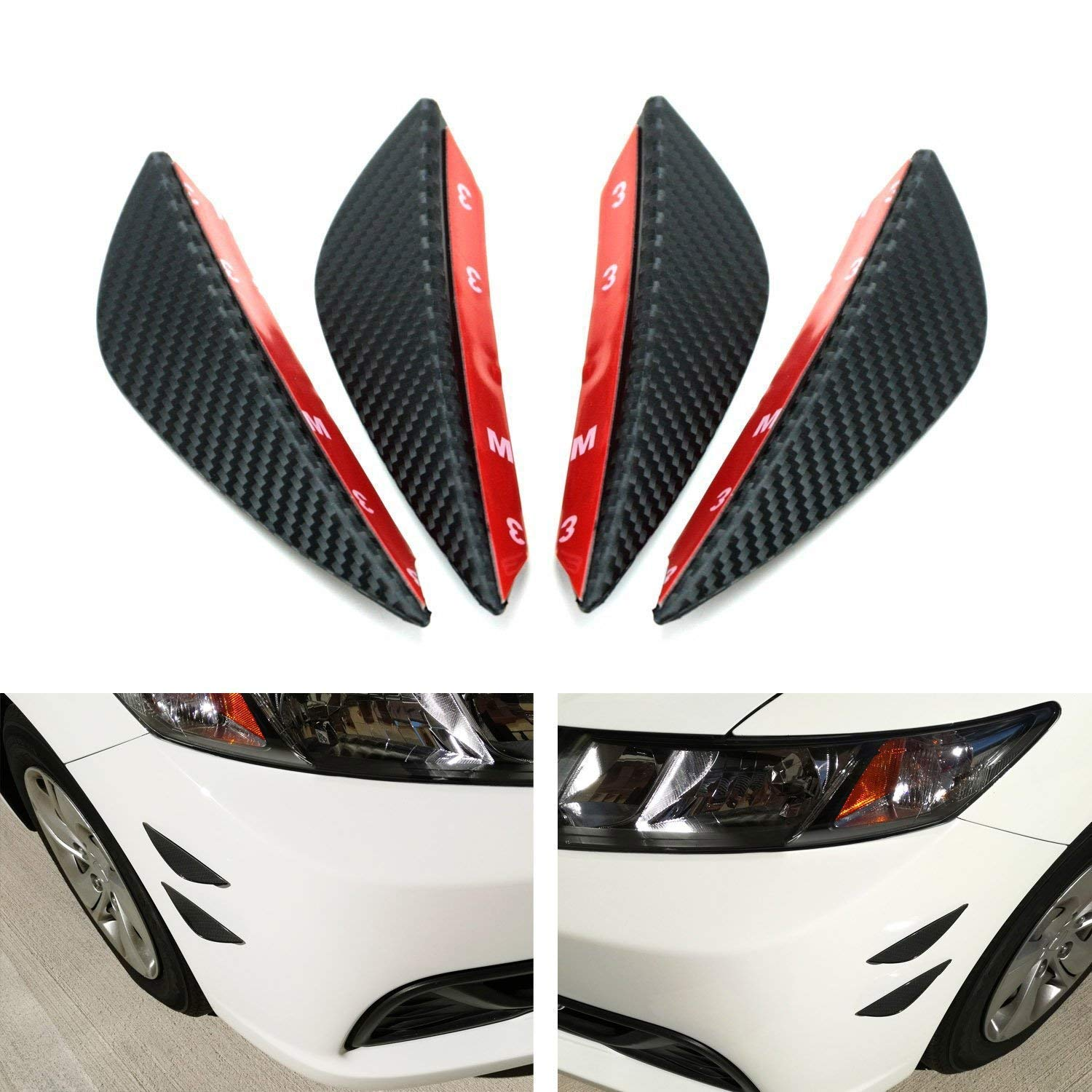 iJDMTOY 4pcs Black Gloss FinishCarbon Fiber Patten Front Bumper Canards Universal Fit For Any Car Body Diffuser Fins