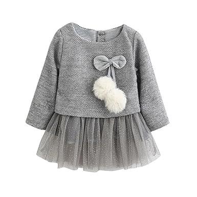 75f21dfa857011 Robe Bébé, Enfant Fille Robe Tricot laine d hiver Crochet Tutu Manches  Longues Robe