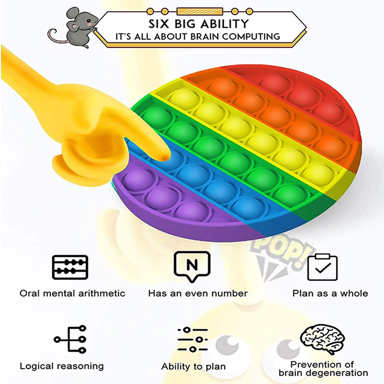 Qvatox Push Pops Bubble Fidget Sensory Toy Rainbow Push Pops Bubble Fidget Stress Toys Anxiety Relief Square Round Fidgets Toys 2 Pack