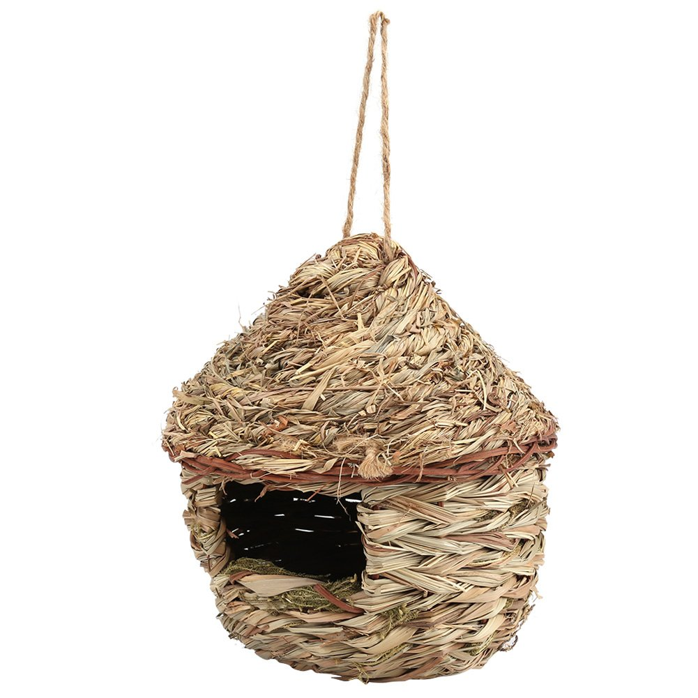 Bird Nest House,Handwoven Grasses Birdhouse Comfortable Bedding for Parrot Hamster Small Pets Animals Cage Home Hanging Decor
