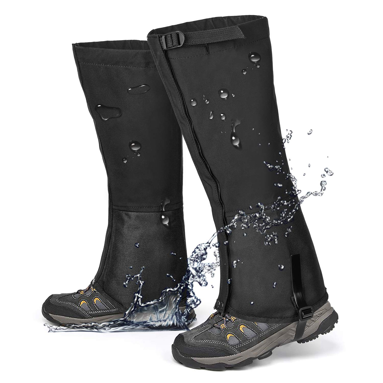Leg Gaiters Waterproof Snow Boot Gaiters for Snowshoeing, Hiking, Hunting, Running, Motorcycle Anti-Tear Oxford Fabric, TPU Instep Belt Metal Shoelace Hook Adjustable top Buckle Strap for Outdoor by QTECLOR