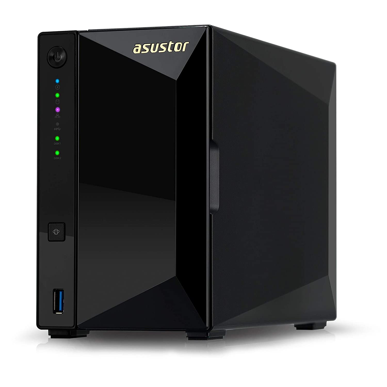 Asustor AS4002T | Network Attached Storage + Free exFAT License | Personal Private Cloud | Home Media Server | 10GbE Port, 1.6GHz Dual-Core, 2GB RAM DDR4 (2 Bay NAS)