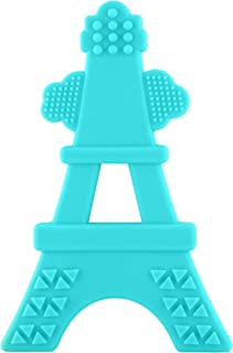 product image for eZtotZ Silicone Tower Teether Toy - Made in USA - Multi-Textured Soft Food Grade Material Great for Teething Baby and Toddler Relief - Great Baby Shower Registry Gift - BPA Free/Freezer Safe (Teal)