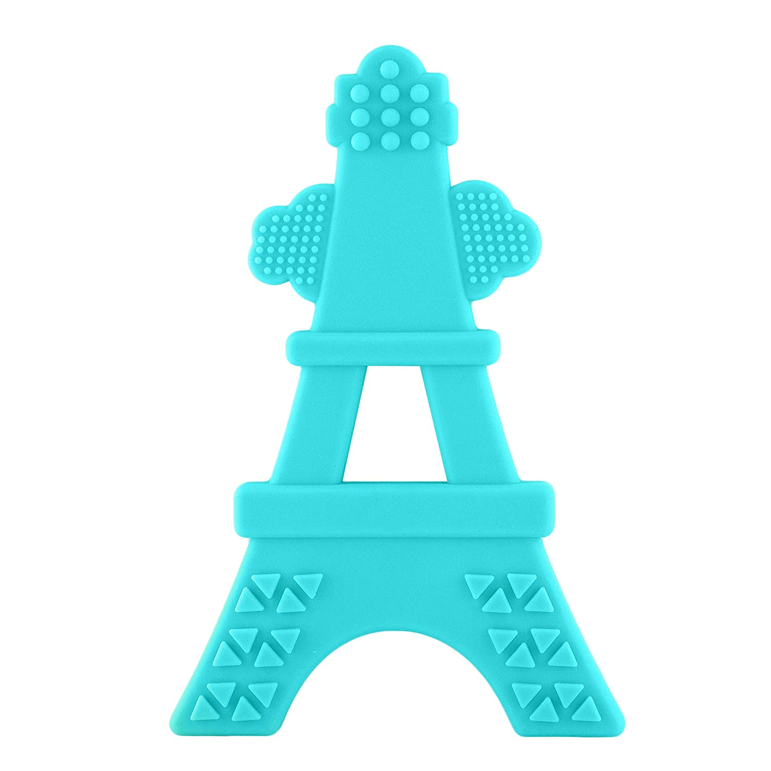 eZtotZ Silicone Tower Teether Toy - Made in USA - Multi-Textured Soft Food Grade Material Great for Teething Baby and Toddler Relief - Great Baby Shower Registry Gift - BPA Free/Freezer Safe (Teal)