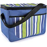 Large Family Summer Stripe Print Beach-Picnic-Camp Cool Bag With Shoulder Strap