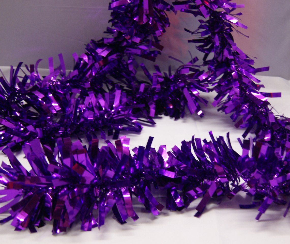 6.5ft 5 x 2m Deluxe Thick Chunky Wide Purple Tinsel for Christmas Tree or Decoration