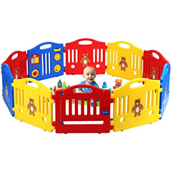 New 10 Panel Safety Fence Play Center Yard Baby Playpen Kids Home Indoor Outdoor