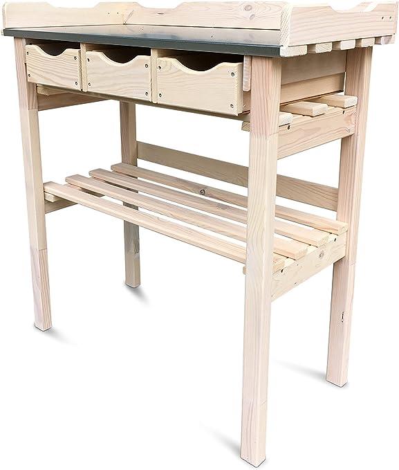 Macetero mesa con 3 cajones (Madera, cinc), color blanco ...