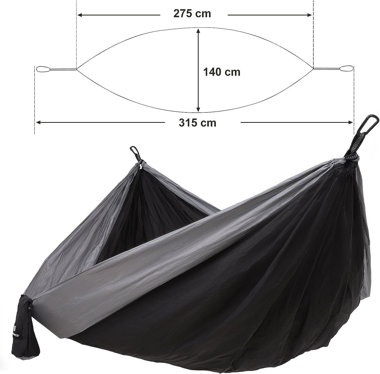 T/ÜV-getestet schwarz-grau GDC14BG schnell trocknend tragbar Befestigungsgurte und Karabiner inklusive SONGMICS Campingh/ängematte 275 x 140 cm bis 300 kg belastbar atmungsaktiv leicht