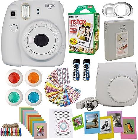 Fujifilm Instax Mini 8 Cámara instantánea Color Gris Blanco + Fuji Instax película Twin Pack (20pk)