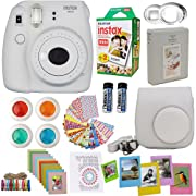 Fujifilm Instax Mini 9 Instant Camera Smokey White + Fuji Instax Film Twin Pack (20PK) + Camera Case + Frames + Photo Album + 4 Color Filters And More Top Accessories Bundle