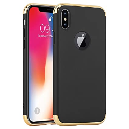 super popular 65f8a ff07e Aeetz® iPhone X Case, iPhone X Covers, 3 in 1 Thin Slim Hard Stylish Case  Matte Surface with Electroplate Frame, Mobile case for Apple iPhone X ...
